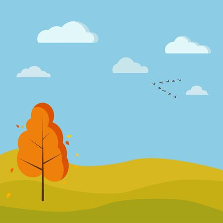 Autumn season cute nature landscape background with yellow and orange colours, single deciduous tree, fields, river, clouds, birds crane wedge in cartoon style. Vector flat design scenery illustration Illustration
