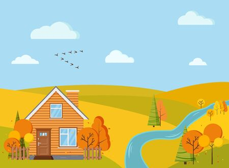 Autumn scenic field landscape background with yellow and orange trees, spruces, fields, river, clouds, birds crane wedge in cartoon style. Cute vector flat design nature background illustration.
