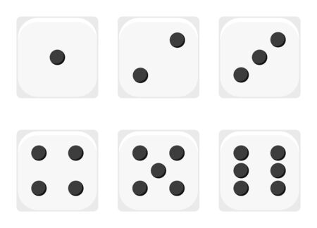 Vector illustration of white 1-6 dices icon set. Sex casino dices sign - 1, 2, 3, 4, 5, 6 isolated on white background. Flat design dice gambling template.