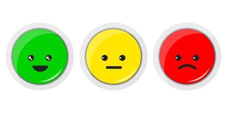 Ilustración de diseño plano de vector de conjunto de iconos de smiley. Emoticonos positivos, neutros y negativos rojos, amarillos y verdes de diferentes estados de ánimo. Sonrisa de calificación para la opinión del cliente. Botón de expresiones faciales.