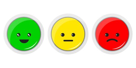 Vector flat design illustration of smiley icon set. Emoticons positive, neutral and negative red, yellow and green different moods . Rating smile for customer opinion. Facial expressions button.
