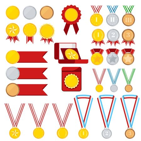 Champion medals set isolated on white background: golden, silver, bronze medal with red, stripped, blue, green ribbon, in red box. Icon sign first, second, third place. Vector flat design illustration