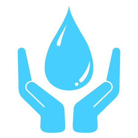 Vector concept illustration of hands holding water drop isolated on white background. Save water icon. Eco logo template. Blue color invironmental protection simple sign.