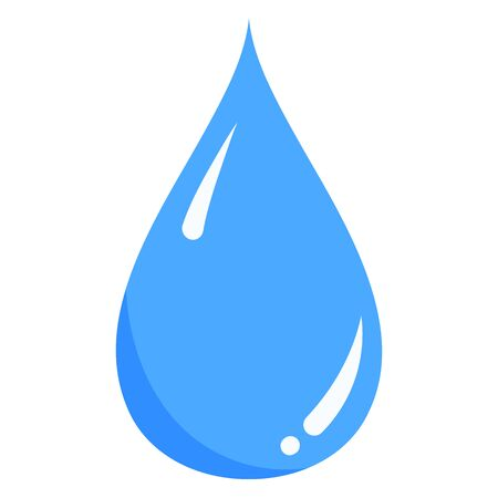 Vector blue water liquid drop icon isolated on white background. Flat style. Elegant cool single nature element for logo, web, app design.