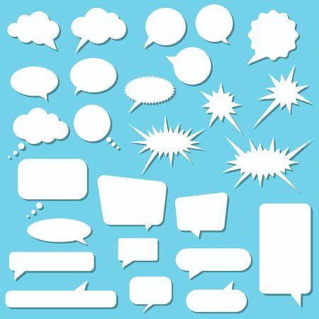 Białe dymki zestaw na białym tle na niebieskim tle. Ilustracja wektorowa. Pusta pusta kolekcja pęcherzyków mówić i myśleć. Naklejki wiadomości lub notatki w chmurze do komunikacji.