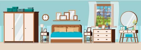 Cozy bedroom interior background with furniture and window with summer landscape scene. Wardrobe, bed, pillows, nightstands, chest of drawers, mirror, dressing table. Flat cartoon vector illustration.