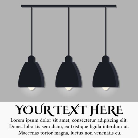 Isolé sur fond de mur gris lampe noire de style scandinave moderne avec trois ampoules rougeoyantes avec place pour votre texte ici. Icône de la lampe. Illustration vectorielle dans un style plat de dessin animé.