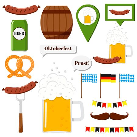 Flat design vector clip art oktoberfest set illustration grilled sausage, sausage on a fork, glass of beer, beer can, signs, german flag, garland, soft pretzel, mustache, wood barrel isolated on white