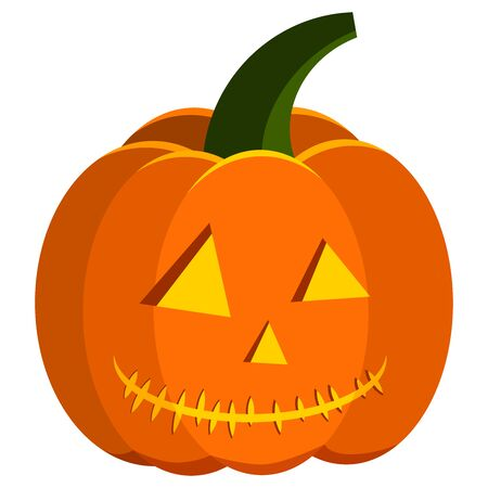 Cartoon style flat design orange color carved pumpkin halloween icon - jack lantern with light inside isolated on white background. Vector simple vegetable illustration for halloween party. Stockfoto - 129602399