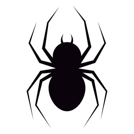 Vector illustration of flat design black spider with fangs silhouette icon isolated on white background. Animal poisonous character for web, Halloween design.