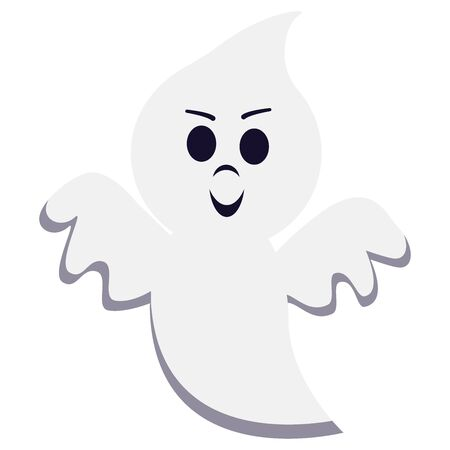 Vector illustration of flat style cartoon ghost isolated on white background. Ghost creepy funny cute character. Graphic design element for party celebrate happy Halloween night holiday.