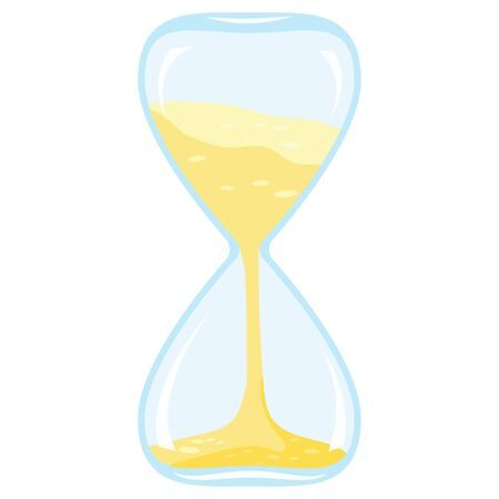 Vector illustration of flat style cartoon design closeup colored time icon - hourglass isolated on white background. Template sandglass, classic interior object, symbol of time management.