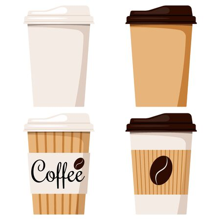 Isolated on white background disposable kraft brown, white paper coffee cup with cap icon set, front view, designed coffee grain, flat cartoon style vector illustration clip art take away packaging. Stock Illustratie