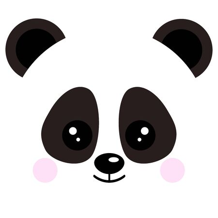 Cute baby panda bear face vector illustration isolated on white background. Chinese symbol smiling bear head image. Adorable funny mascot character in cartoon flat style.