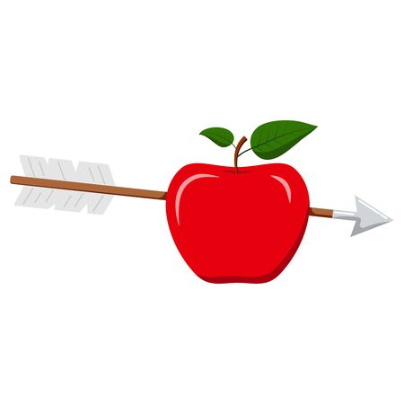Vector flat design illustration of wooden arrow in red apple icon isolated on white background. Cartoon style sign for web design. The bull s eye concept. Иллюстрация