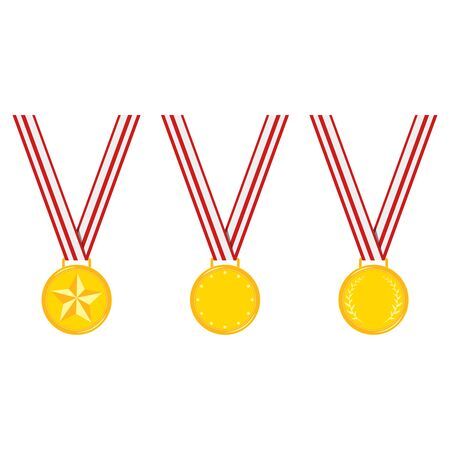 Champion different design golden medals with stripped red ribbon set isolated on white background. Icon sign first place with star, dots, laurel branches. Vector flat cartoon clip art illustration.