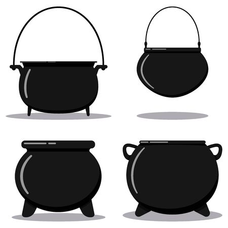 Flat designcartoon style illustration vector set black cast-iron empty cooking pot, camping boiler, iron witches cauldron with handle isolated on white background.