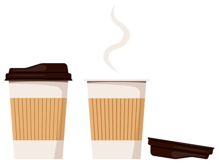 Disposable kraft brown, white paper closed and opened hot coffee cup,lies nearby lid icon isolated on white background, front view, flat design cartoon style vector illustration coffe to go packaging.