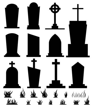Black silhouette tombstone set for halloween holiday isolated on white background. Different gravestone with grass cemetery collection. Vector flat cartoon style illustration. Graphic design element.  イラスト・ベクター素材