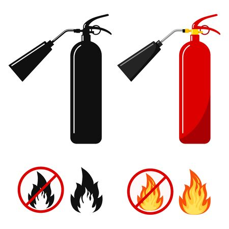 Flat design set red and black fire extinguisher with nozzle silhouette icon, fire and no fire sign, no open flame - colored and black variant fire crossed out in circle isolated on white background.