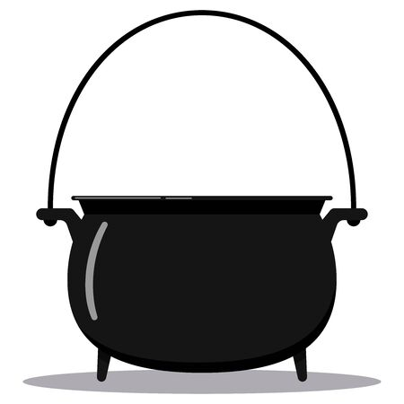Black cast-iron empty cooking pot flat design cartoon style vector illustration. Camping boiler, iron witches cauldron with handle icon isolated on white background. Symbol of Halloween holiday. Banque d'images - 131515602