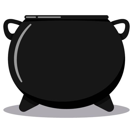 Flat design cartoon style vector black cast-iron empty cooking pot, camping boiler, iron witches cauldron halloween icon with leg boiler isolated on white background. Stock Illustratie