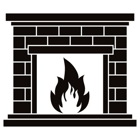 Vector black icon of retro brick fireplace with fire flame illustration isolated on white background. Simple flat single element home interior design decoration, apps, web site. Иллюстрация