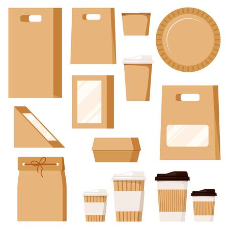 Fast food package set empty kraft brown blank cardboard rectangle triangle take away boxes with plastic window, plate packaging for food and cups for beverage isolated on white background. Stock Illustratie