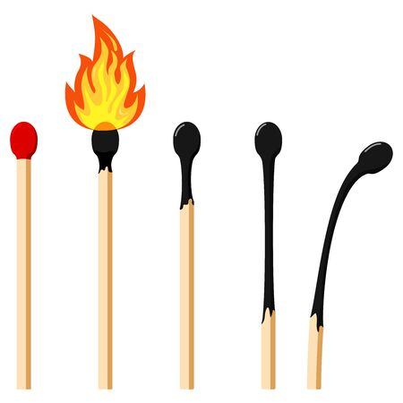 Matches varying degrees of burning flat design icon set. Vector illustrations burning matchstick on fire, burnt matchstick, match remainder isolated on white background. Symbol of ignition, burning.