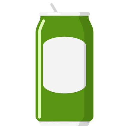 Metal aluminum green can isolated on white background. Flat design beverage can for beer, lager, alcohol, soft drinks, soda, fizzy pop, lemonade, cola, energy drink, juice. Vector illustration