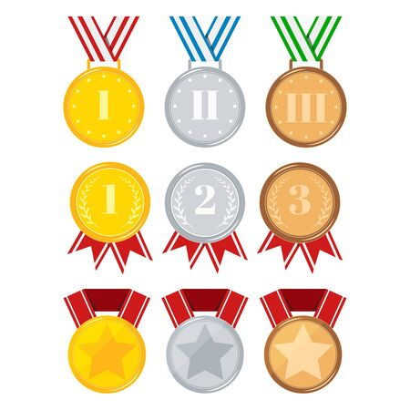Flat design different medals set isolated on white background golden, silver, bronze medal with red, stripped, blue, green ribbon, star. Icon sign first, second, third place. Vector illustration.