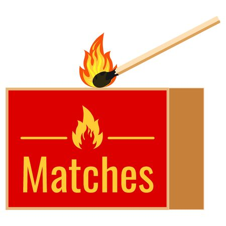 Burning match and matchbox flat design icon isolated on white background. Vector illustrations burning matchstick on fire with sparks. Symbol of ignition, withering. Çizim