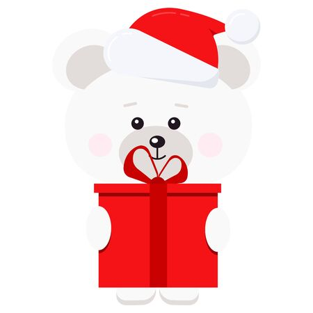 Isolated cute christmas polar bear with red gift with bow Santa Claus red hat with fur and pompom isolated on white background in cartoon flat style. Vector illustration.