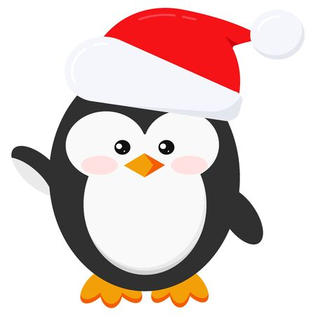 Cute and funny winter little baby child penguin in Santa Claus red christmas hat with fur and pompom isolated on white background in cartoon style. Flat design vector illustration. Stock Illustratie