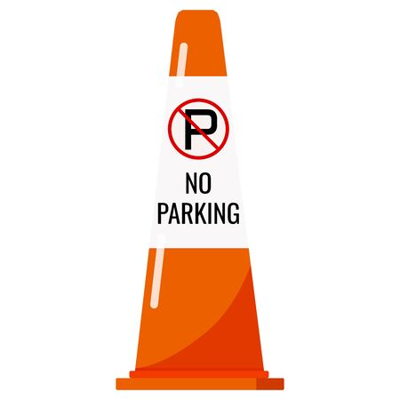 Orange color plastic traffic cone with reflective stripe sticker and no parking sign isolated on white background. Vector flat design icon illustration.