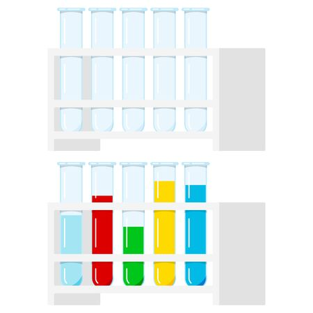 Vector set of glass test tubes clear, with multi-colored liquid reagents containing in plastic rake isolated on white background. Flat design cartoon style chemical laboratory equipment illustration.