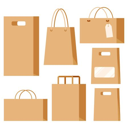 Set of empty kraft brown blank cardboard paper fashion packaging bags with handles for in-store purchases with labels isolated on white background. Supermarket, shop, restaurant package.