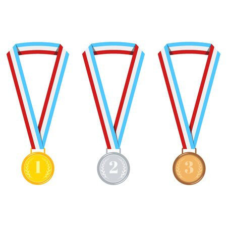 Champion medal set isolated on white background golden, silver, bronze medal with stripped red, blue, white ribbon isolated on white. Icon first, second, third place. Vector flat design illustration Archivio Fotografico - 133170150