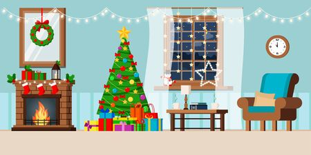 Cozy new year holiday decorated living room interior with christmas tree and gifts, fireplace, armchair, coffee table, night window winter rural landscape in flat cartoon style. Vector illustration.