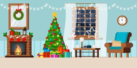 Intérieur de salon décoré de vacances de nouvel an confortable avec arbre de noël et cadeaux, cheminée, fauteuil, table basse, fenêtre de nuit paysage rural d'hiver dans un style cartoon plat. Illustration vectorielle.