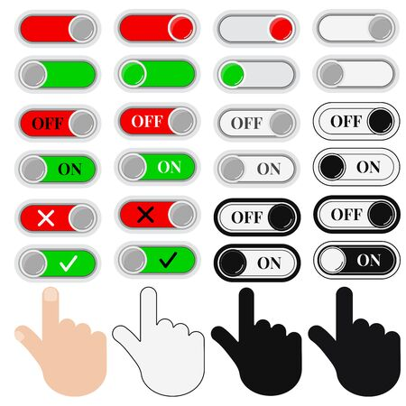Vector illustration On Off sliders and hands icon set isolated on white background. Flat, simple design colorful and monochrome black and white signs. Toggle switch.
