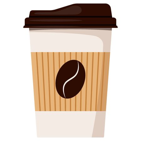 Disposable white paper hot coffee cup with dark brown lid and kraft holder icon isolated on white background, front view, designed coffee grain, Flat style vector illustration take away pack sign