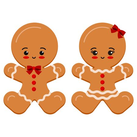 Christmas cute and sweet characters set glazed brown gingerbread man boy and girl with bow isolated on white background. Vector illustration in cartoon style. Flat kawaii child design emoji cookie. Illusztráció