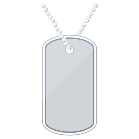 Silver color metal military dog tag icon isolated on white background, Flat design identity tag or identity plate blank vector illustration. Ilustracja