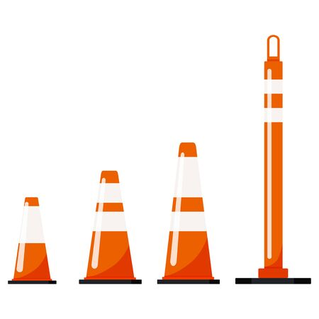 Orange color plastic road traffic cone set isolated on white background. Warning symbol with reflective stripes stickers. Vector flat design icon illustration. Фото со стока - 133449950