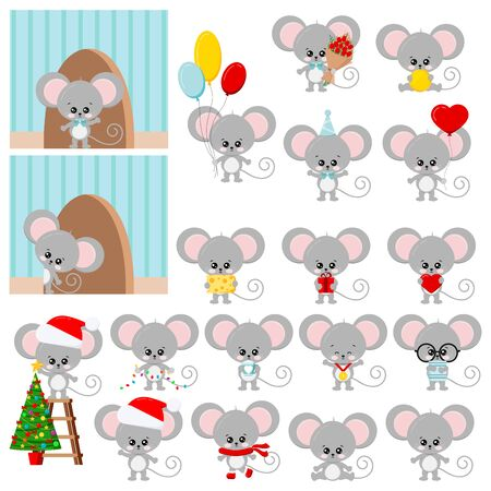Cute mouse vector set isolated on white background - flat design cartoon character with ballons, cheese, medal, book, christmas tree, santa clause hat, birthday cap, gift, heart, coin, cup, garland.