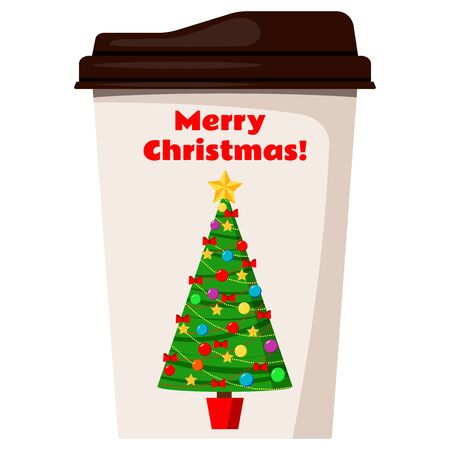 Coffee or tea cup decorated with christmas tree isolated on white background. Design element for x-mas card, banner, web. Flat style vector illustration take away beverage pack sign.