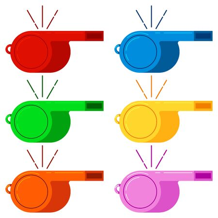 Blowing whistle red, blue, green, yellow, orange, pink color vector icon set isolated on white background. Flat design cartoon style illustration. Sport sign. Coach, police, referee, trainer equipment Vector Illustratie