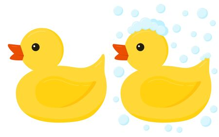 Yellow rubber duck toys for bath icon set isolated on white background. Plastic duck with and whithout soap foam and bubbles. Vector flat cartoon style design element bathing baby toy illustration. Illusztráció