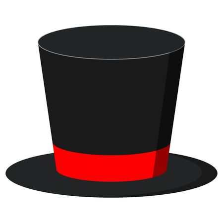 Black magician cylinder hat with red ribbon isolated on white background. Flat design magic hat icon. Retro style elegant men s headdress image. Gentleman accessory vector illustration. 일러스트